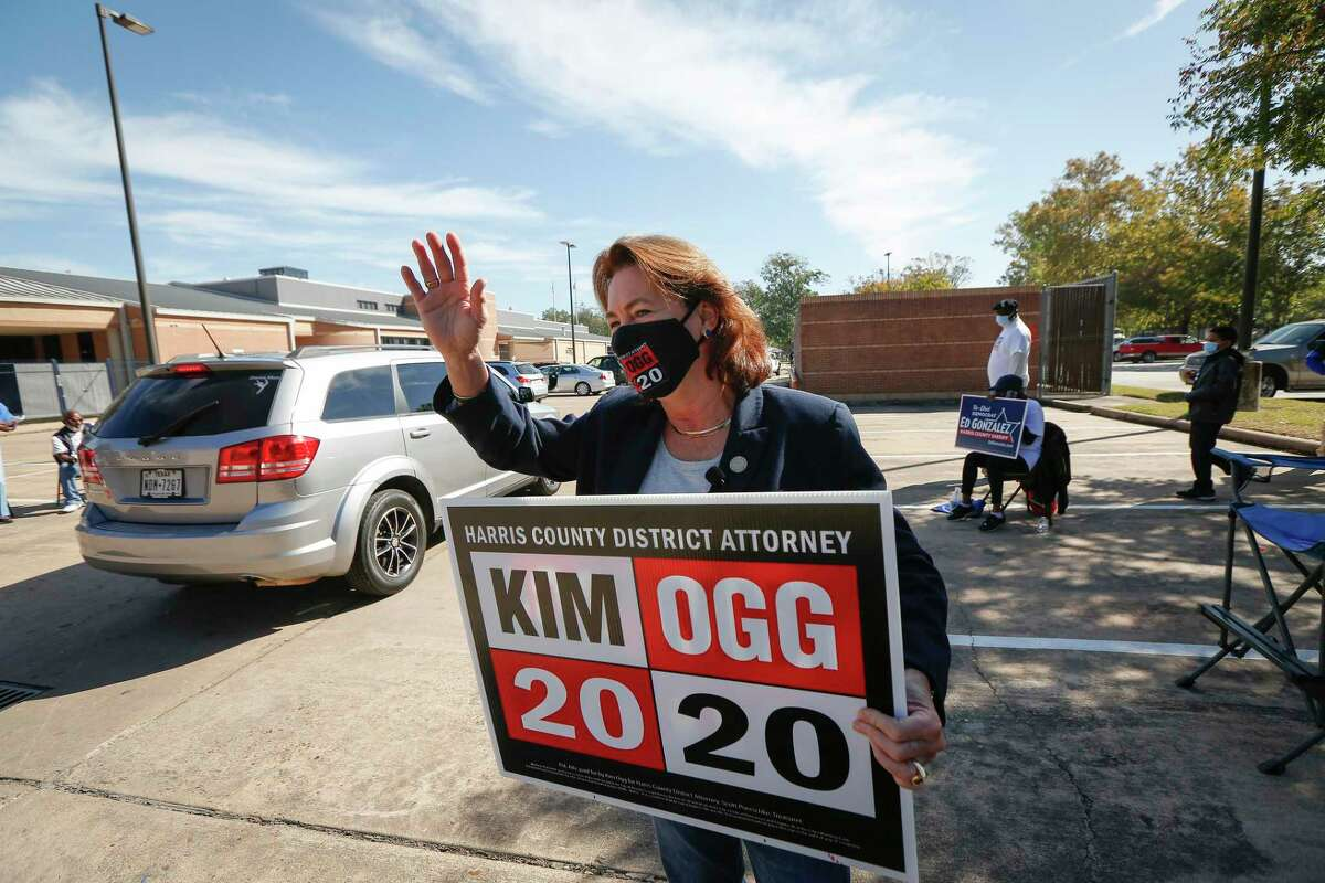 Harris County District Attorney Kim Ogg greets voters who came to cast their ballots at Acres Home Multi-Service Center, 6719 W Montgomery Rd., Tuesday, Nov. 3, 2020, in Houston.