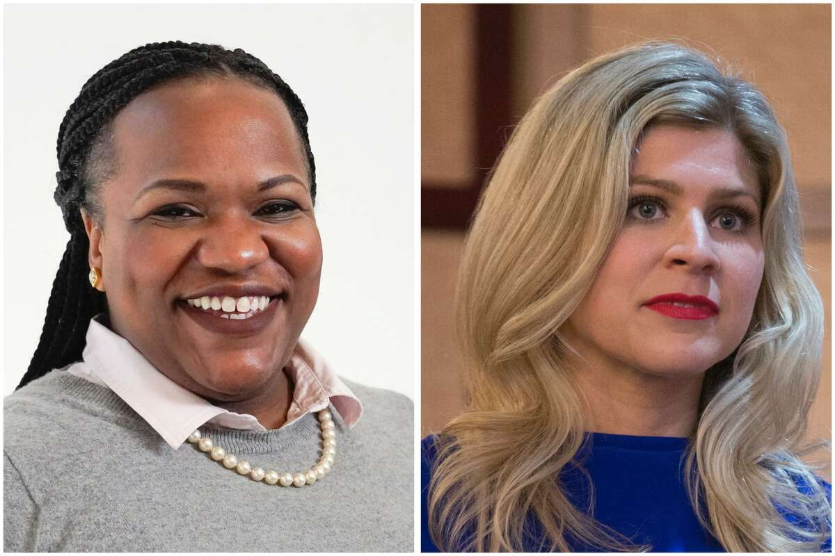 Republican Lacey Hull, right, was leading Democrat Akilah Bacy early Wednesday in the race for House District 138.