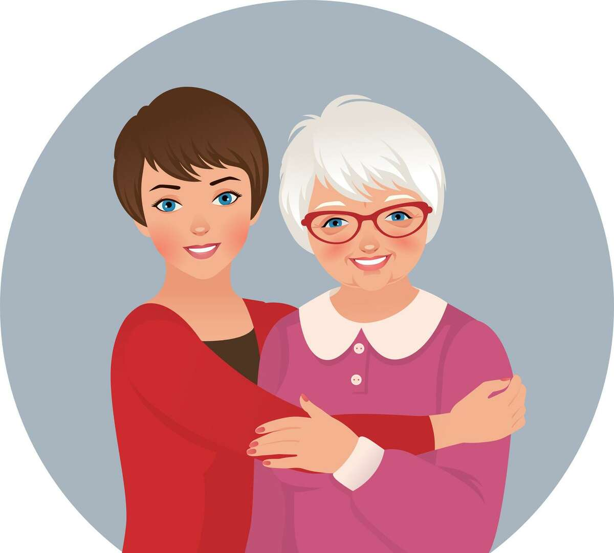 Illustration of mother and adult daughter.
