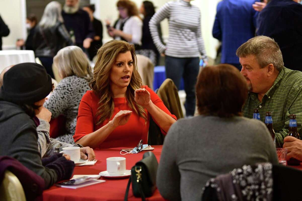 Liz Joy, second from left, mingles with her supporters during a Liz Joy for Congress Watch Party on election day at the River Stone Manor on Tuesday, Nov. 3, 2020 in Schenectady, N.Y. Joy is the Republican challenger to incumbent Democratic Congressman Paul Tonko. (Lori Van Buren/Times Union)