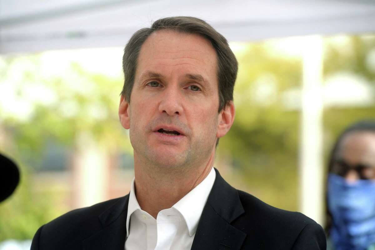 US Rep. Jim Himes speaks at a news conference at the Morton Government Center, in Bridgeport, Conn. Oct. 20, 2020.