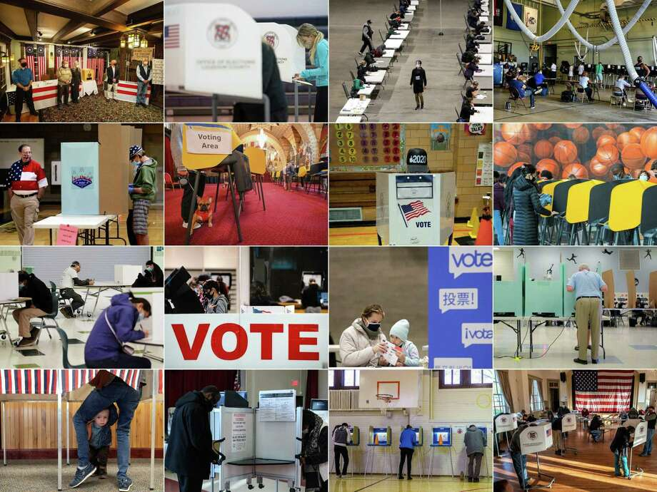 This combination of pictures created on November 03, 2020 shows (from L-R, top to bottom): the five town's residents after voting during the historic midnight vote in Dixville Notch, New Hampshire; voters casting their ballots in Sterling, Virginia; people filling out their ballots in Seattle, Washington; voters casting their ballots in Miami, Florida; a poll volunteer monitoring a polling station in Las Vegas, Nevada; voters casting their ballots in Los Angeles; a voter casting her ballot in New York City; voters in Los Angeles; voters casting their ballots in Arlington, Virginia; a woman casting her ballot in El Paso, Texas; a mother getting help from her daughterin Seattle, Washington; a voter in Las Vegas; a two-year-old waiting for his mother to cast her ballot in Granby, Colorado; people filling out their ballots in Washington, DC; residents voting in Minneapolis, Minnesota; and voters casting their ballots in Hillsboro, Virginia on November 3, 2020. - Americans were voting on Tuesday under the shadow of a surging coronavirus pandemic to decide whether to reelect Republican Donald Trump, one of the most polarizing presidents in US history, or send Democrat Joe Biden to the White House. (Photos by AFP) (Photo by JOSEPH PREZIOSO,ANDREW CABALLERO-REYNOLDS,JASON REDMOND,CHANDAN KHANNA,RONDA CHURCHILL,ROBYN BECK,BRYAN R. SMITH,VALERIE MACON,OLIVIER DOULIERY,JUSTIN HAMEL,JASON CONNOLLY,NICHOLAS KAMM,KEREM YUCEL/AFP via Getty Images) Photo: JOSEPH PREZIOSO / AFP Via Getty Images / AFP or licensors