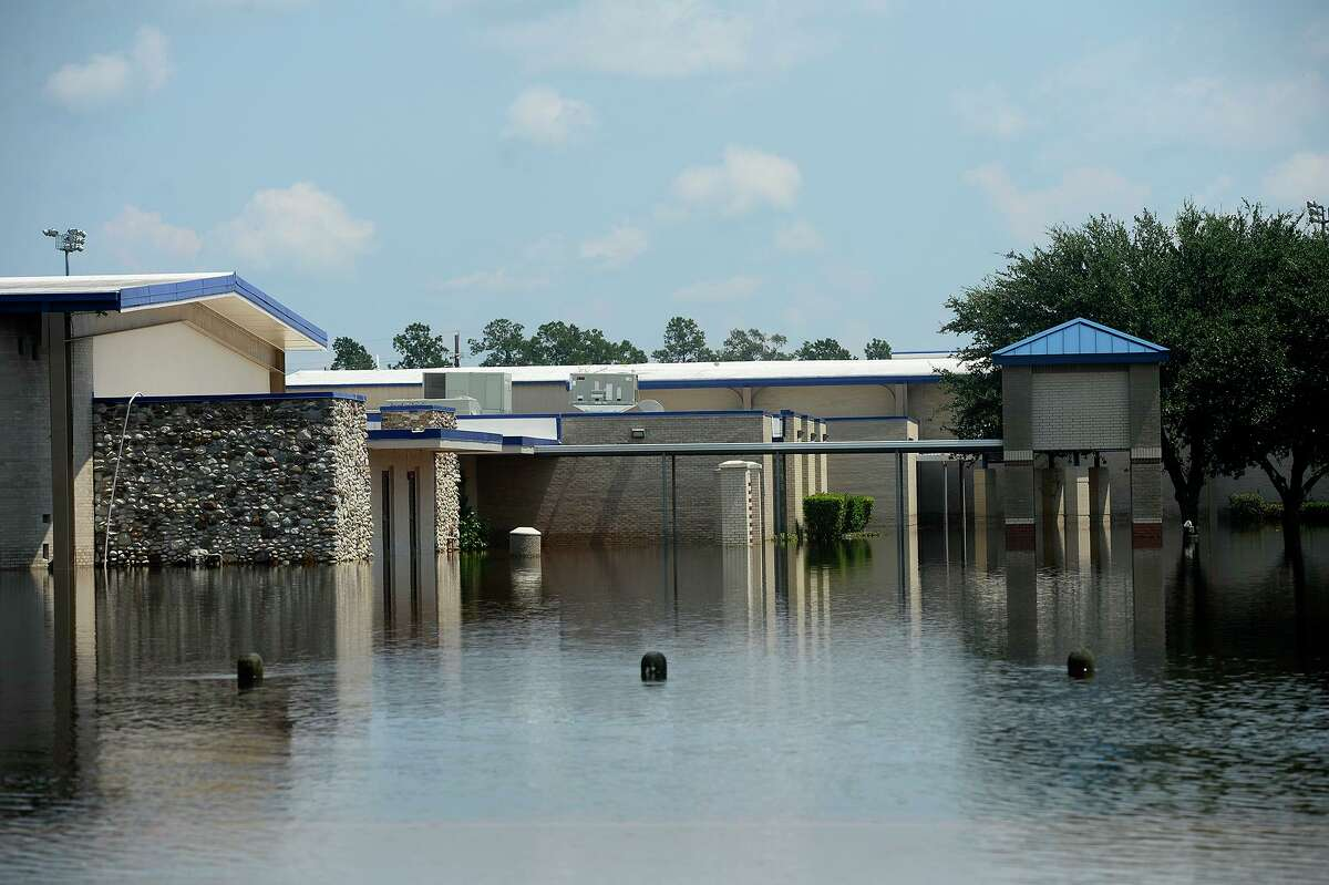 Henderson Middle School surrounded by flooding in Sour Lake on Friday. Photo taken Friday 9/1/17 Ryan Pelham/The Enterprise