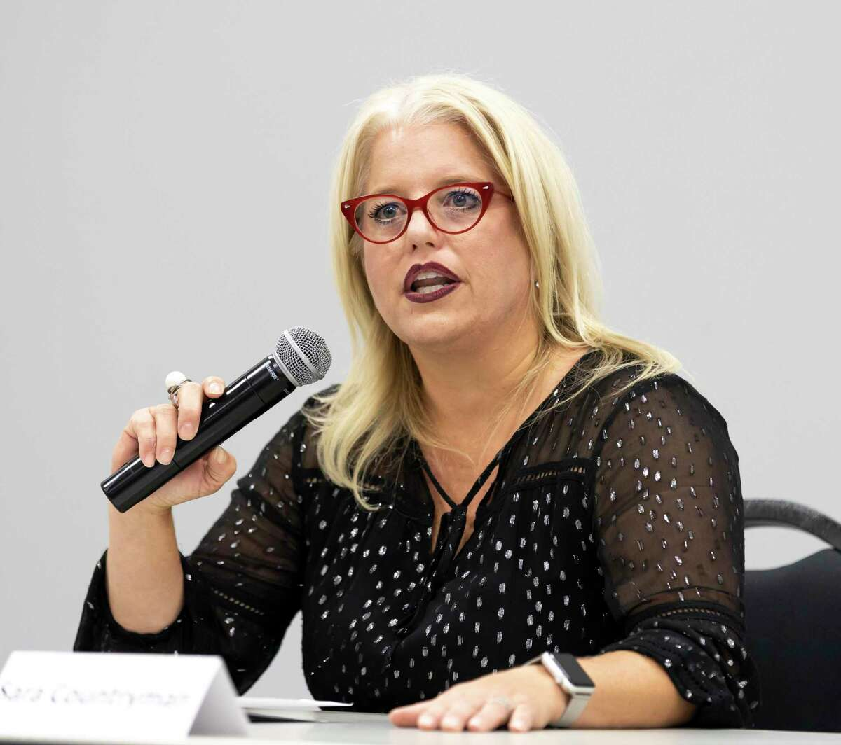 Mayor Sara Countryman speaks during a community forum for the upcoming election at the Lone Star Community Center in Montgomery, Tuesday, Sept, 30, 2020. Countryman is running against Bill Clevenger in the upcoming Nov. 3 election.