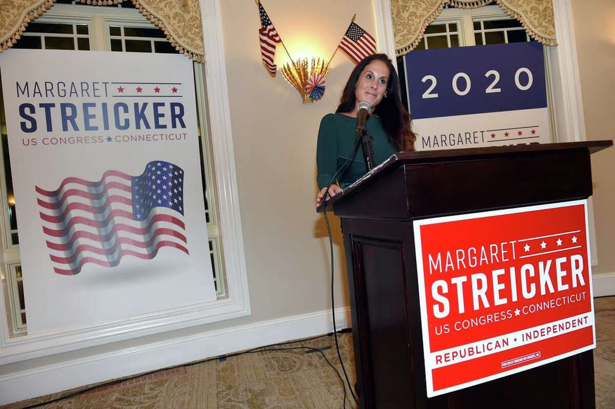Margaret Streicker, Republican 3rd District candidate, announces partial results to supporters at Monty's River Grille at the Great River Golf Club in Milford on November 3, 2020.