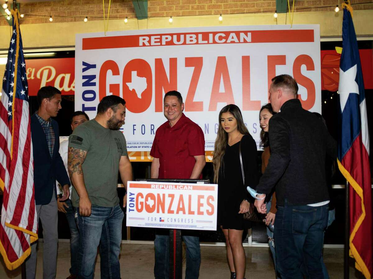 Tony Gonzales, running for Congressional seat for District 23 talks with his supporters during an election night event on Tuesday, November 3, 2020 in San Antonio, Tx., U.S.