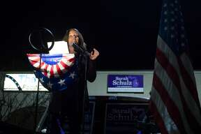 Sarah Schulz, a candidate for Michigan's 98th House of Representatives district, addresses the crowd as Midland County democrats gather for an Election Night rally Tuesday, Nov. 3, 2020 at the Midland County Democratic Party headquarters. (Katy Kildee/kkildee@mdn.net)