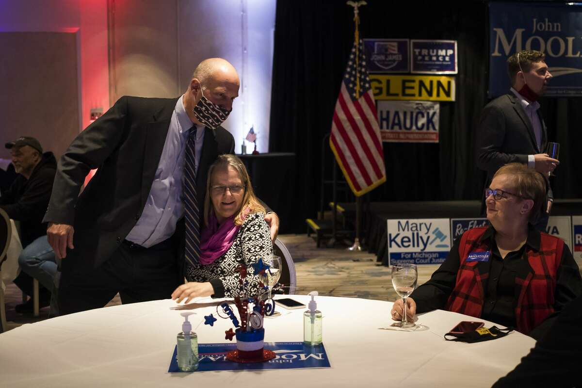 U.S. Rep. John Moolenaar chats with supporters as Midland County republicans gather for an Election Night watch party Tuesday, Nov. 3, 2020 at The H Hotel in Midland. (Katy Kildee/kkildee@mdn.net)