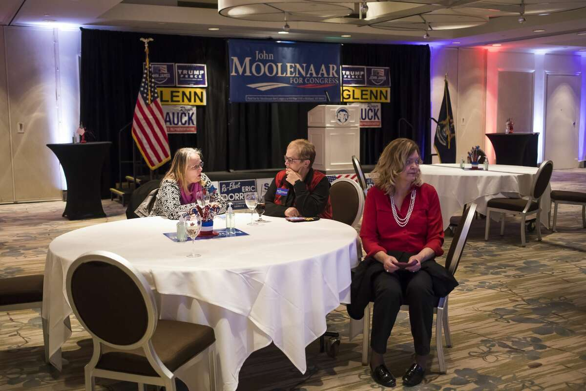 Midland County republicans gather for an Election Night watch party Tuesday, Nov. 3, 2020 at The H Hotel in Midland. (Katy Kildee/kkildee@mdn.net)