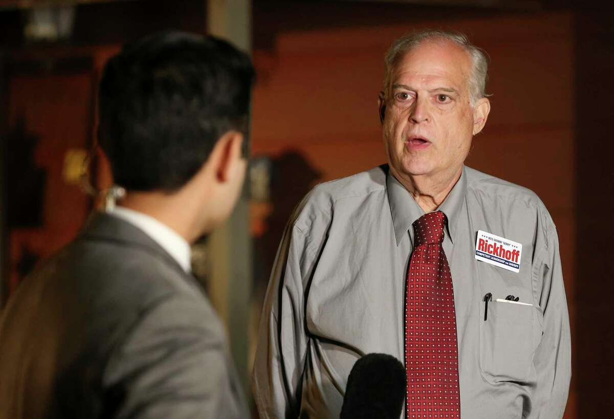 """Former Bexar County Clerk Gerard C. """"Gerry"""" Rickhoff, Republican challenger in the sheriff's race, speaks Tuesday."""