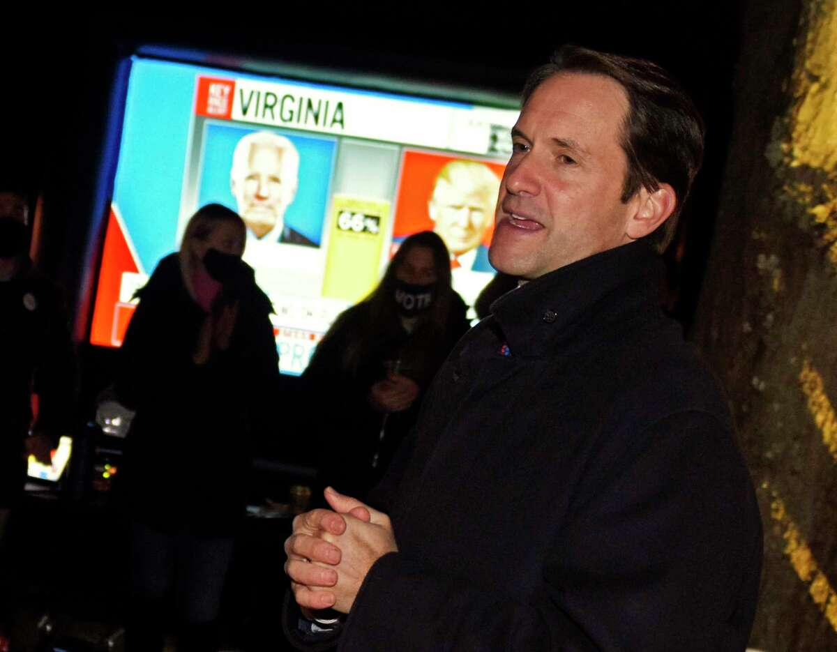 Incumbent Democratic U.S. Rep. Jim Himes, representing Connecticut's 4th District, speaks after delcaring victory in his race against Republican challenger Jonathan Riddle in an event at Wakeman Farm in Westport, Conn. Tuesday, Nov. 3, 2020. Connecticut residents cast their votes Tuesday in the Presidential Election between incumbent Republican Donald Trump and Democratic challenger Joe Biden, as well three U.S. House of Representatives positions, and numerous State Senate and House postions.