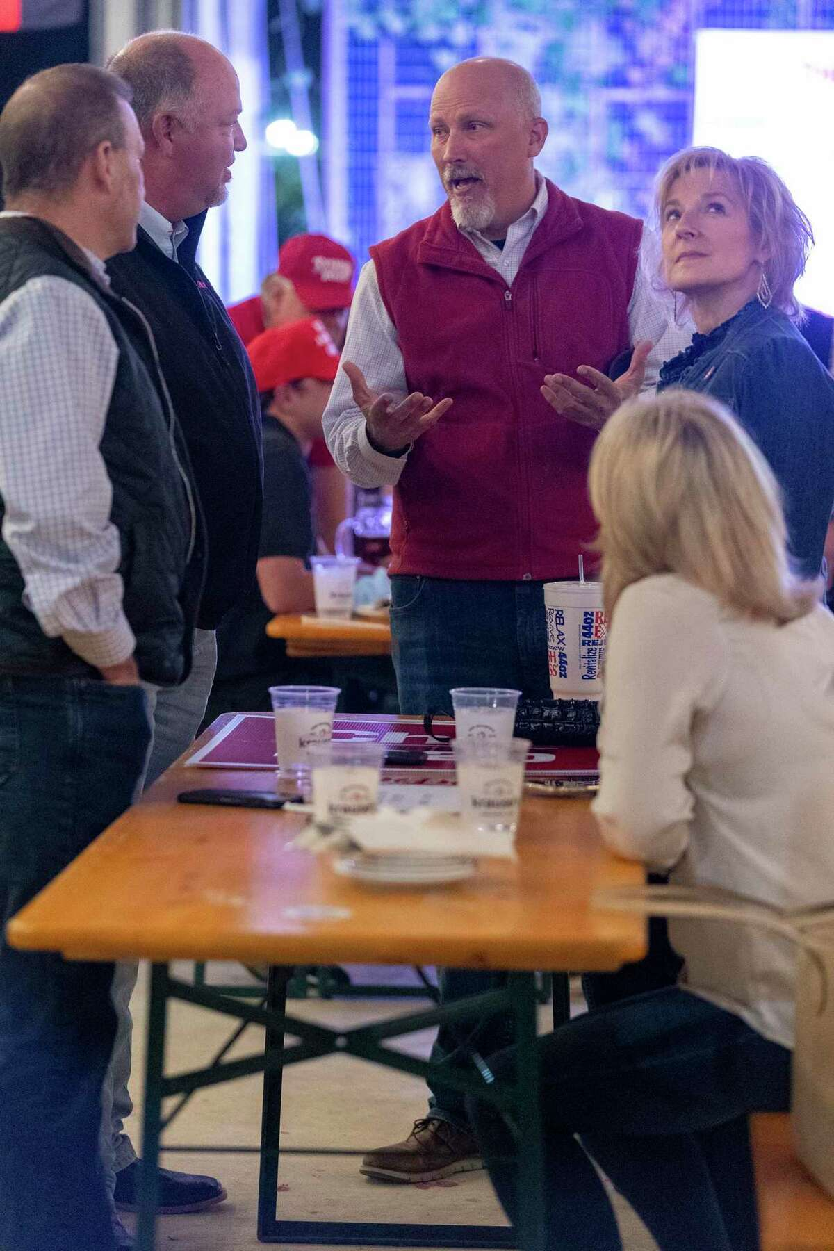 U.S. Rep. Chip Roy, R-Hays County, speaks with Mark Stewart, from Tomball, and Barbara Feigin, from The Woodlands, during an election watch party at Krause?s Cafe in New Braunfels, Tuesday, Nov., 3, 2020. Roy the incumbent is running against form Texas State Senator Wendy Davis. [Stephen Spillman for Statesman]