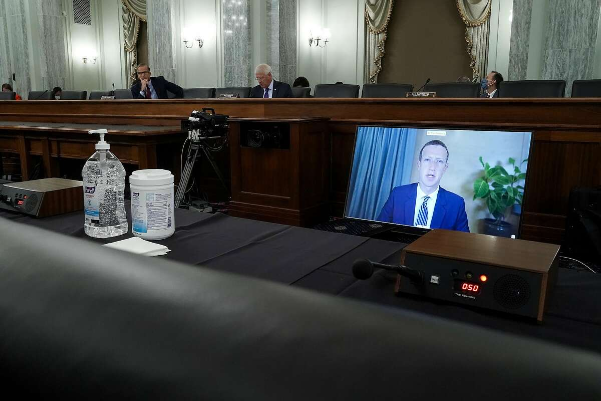 WASHINGTON, DC - OCTOBER 28: Facebook CEO Mark Zuckerberg testifies remotely during a Senate Commerce, Science, and Transportation Committee hearing with big tech companies October 28, 2020 on Capitol Hill in Washington, DC. The committee is discussing reforming Section 230 of the Communications Decency Act. (Photo by Greg Nash-Pool/Getty Images)