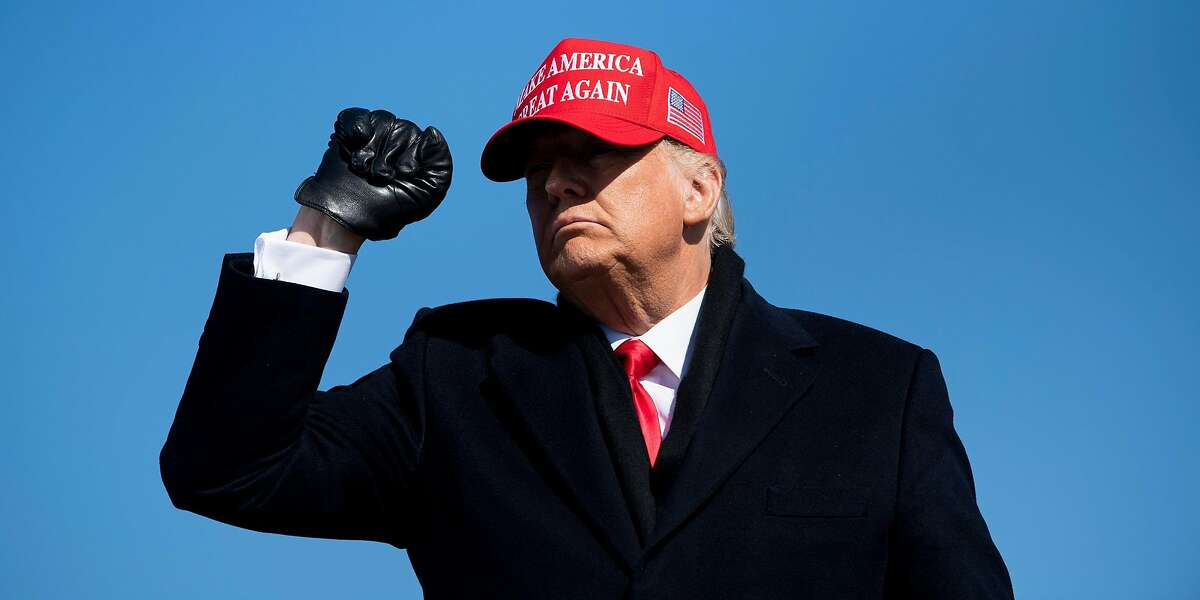 President Donald Trump leaves after speaking during a Make America Great Again rally at Fayetteville Regional Airport November 2, 2020, in Fayetteville, North Carolina.