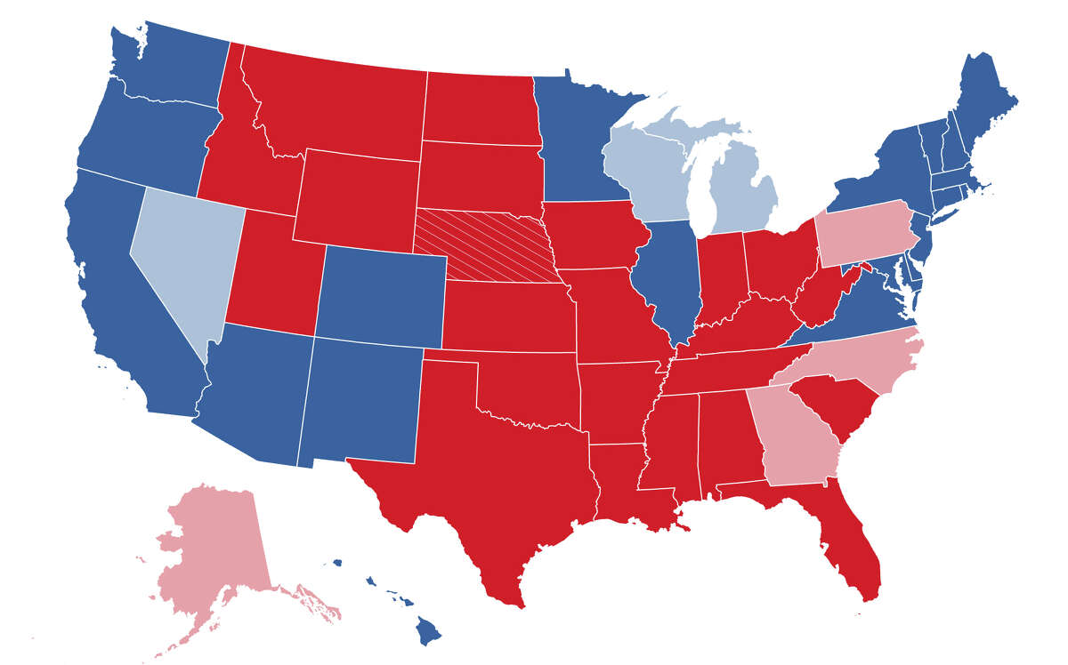Current presidential race standings as of 9 a.m. Weds., Nov 4. Dark states indicate the state has been called for either Trump (red) or Biden (blue). Light-colored states are still counting ballots and have yet to declare a winner. For a an interactive guide of local, state and national results, visit ExpressNews.com/2020Results.