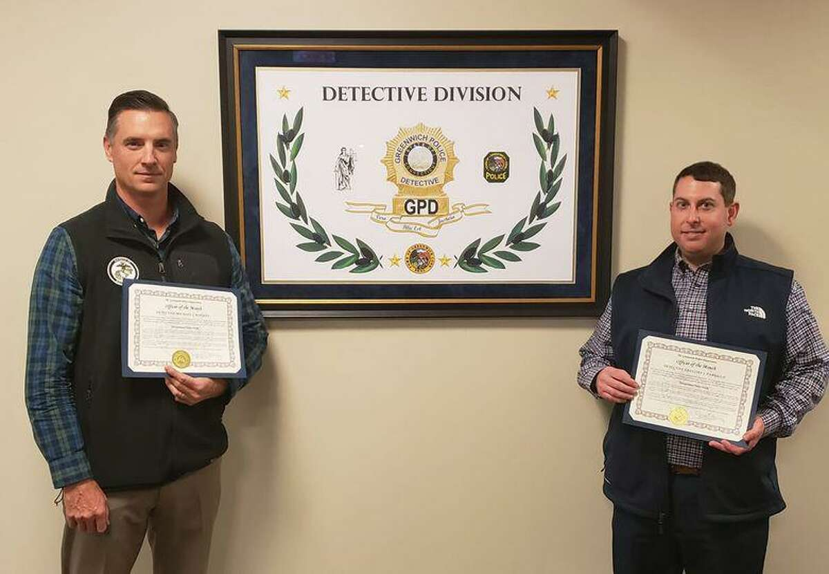"""Detectives Michael Rooney, left, and Gregory Parrillo were cited as """"Officers of the Month"""" in November."""