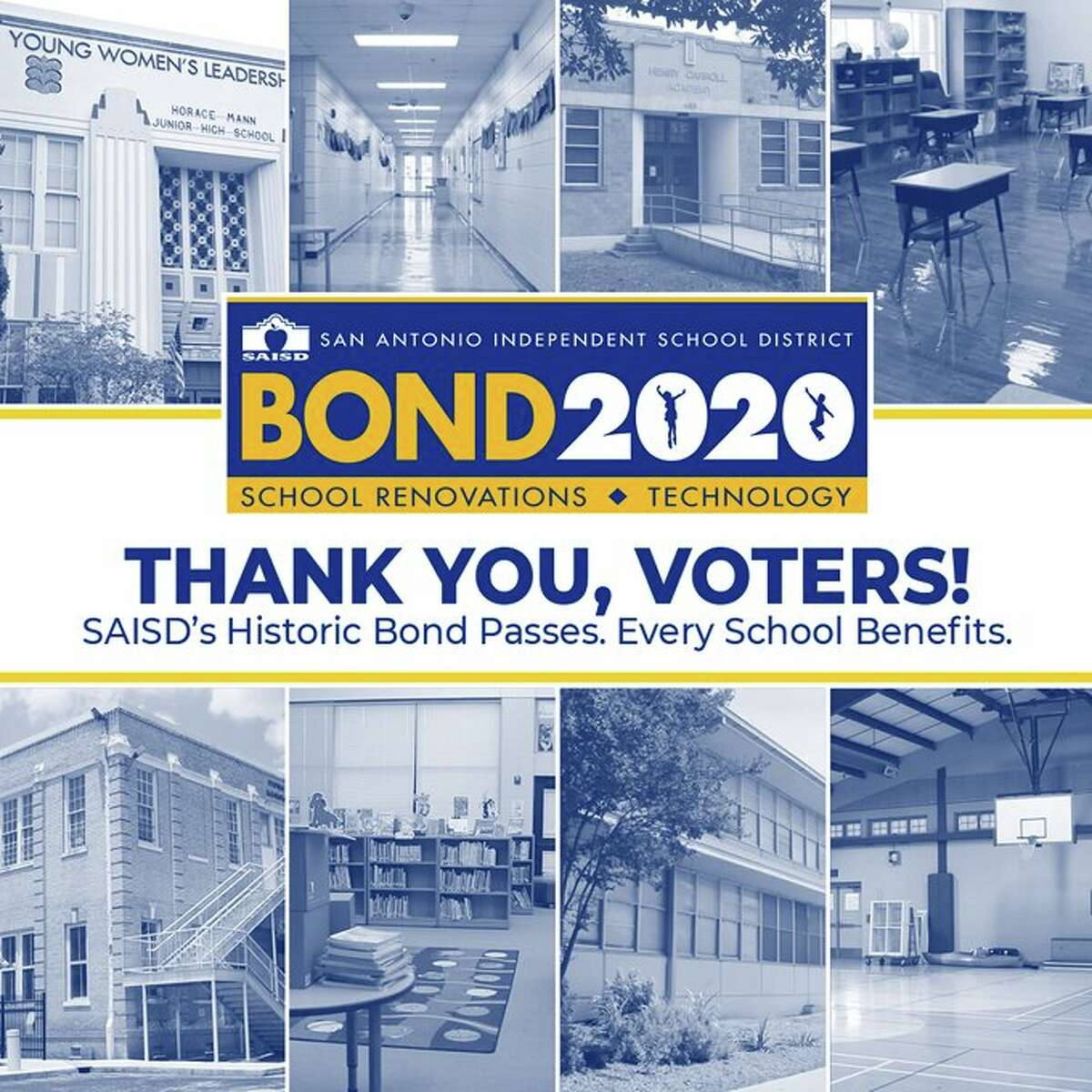 """""""A huge thank you to San Antonio voters who said 'Yes' on the SAISD Bond election Props A and B! With this support, every single school in our District will benefit, whether it's updated classroom technology, new AC systems, upgraded security, or renovations,"""" the district shared Tuesday night."""