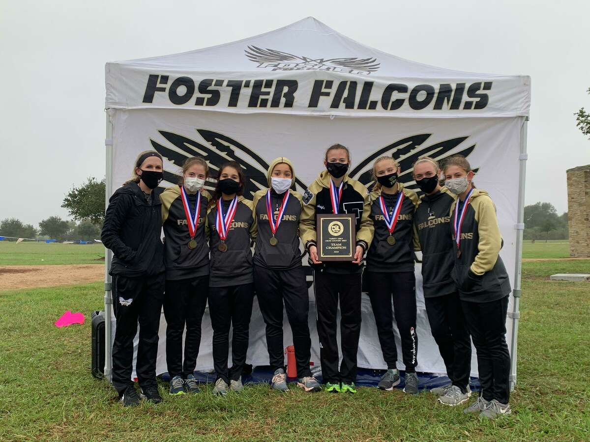 The Foster girls cross country team of Mickayla Tosch, Kaitlyn Walsh, Chloe Mills, Morgan Molina, Isabella Jacoby, Danielle Selliers and Samantha Doherty won the District 24-5A championship.