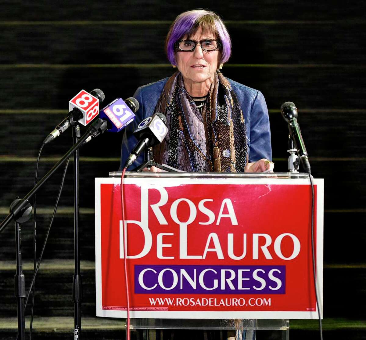 U.S. Rep. Rosa DeLauro, D-3, running for her 16th term, announces her win over Republican candidate Margaret Streicker Tuesday night at the Shubert Theatre in New Haven.