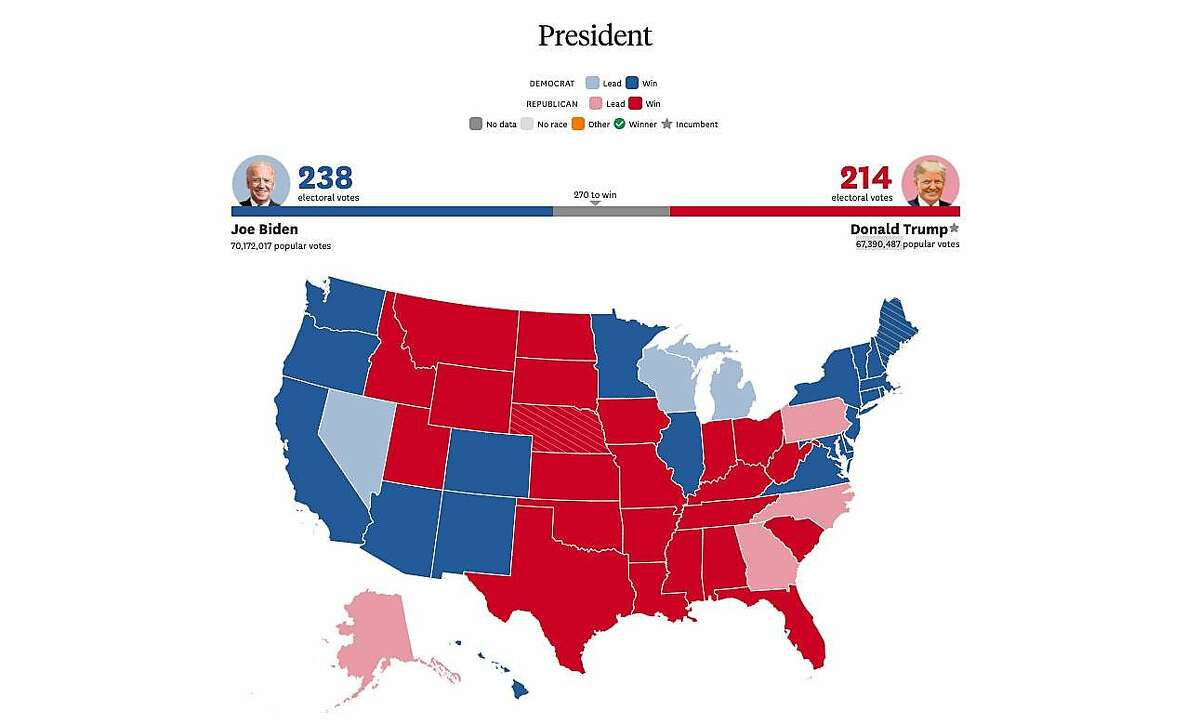 The presidential voting map as of Wednesday morning, Nov. 4, 2020.