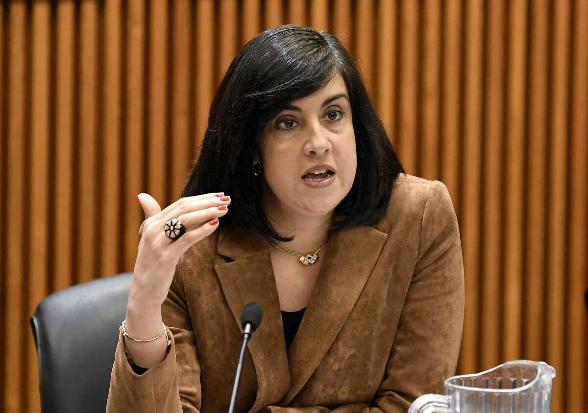This file photo from Monday Feb. 11, 2019, shows Assemblywoman Nicole Malliotakis, R-Staten Island, as she speaks during a legislative budget hearing in Albany, N.Y. Malliotakis will challenge incumbent Democratic U.S. Rep. Max Rose for New York's 11th Congressional District seat in the Nov. 3, 2020, general election.