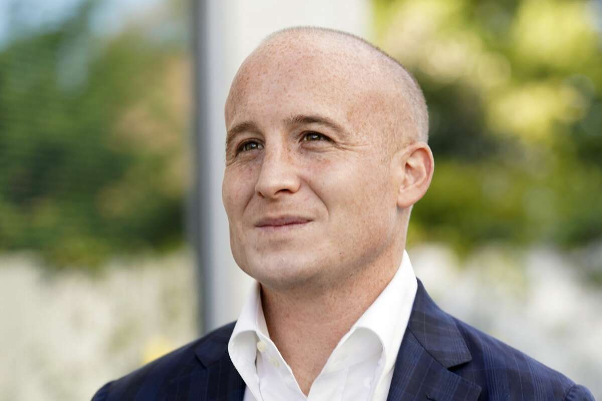 U.S. Rep. Max Rose, D-N.Y., poses for a portrait outside his office in Staten Island, Thursday, Oct. 8, 2020, in New York. Rose is running for reelection in New York's 11th congressional district race. (AP Photo/Kathy Willens)