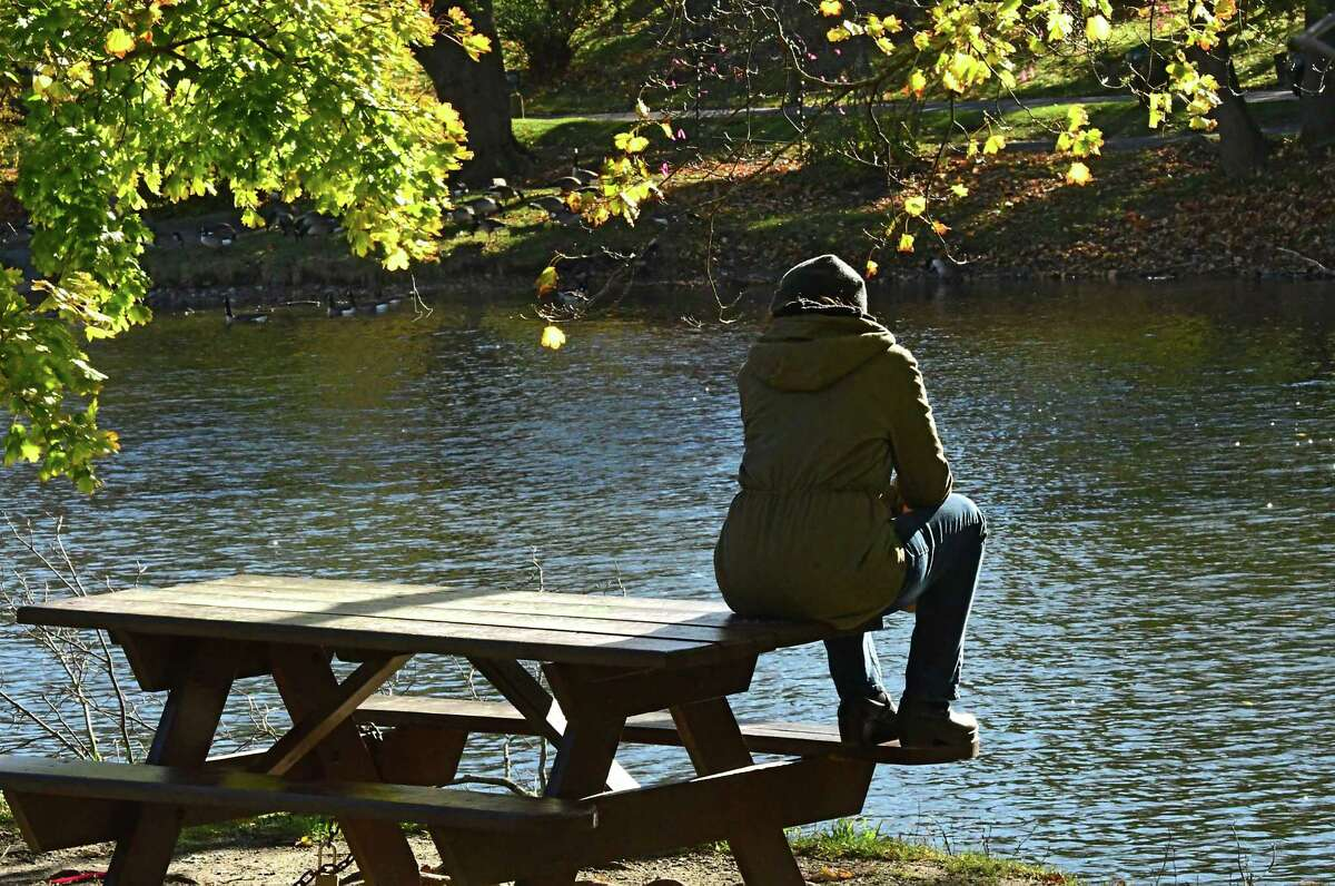 A person is seen enjoying a quiet moment looking over the lake in Washington Park on Wednesday, Nov. 4, 2020 in Albany, N.Y. (Lori Van Buren/Times Union)