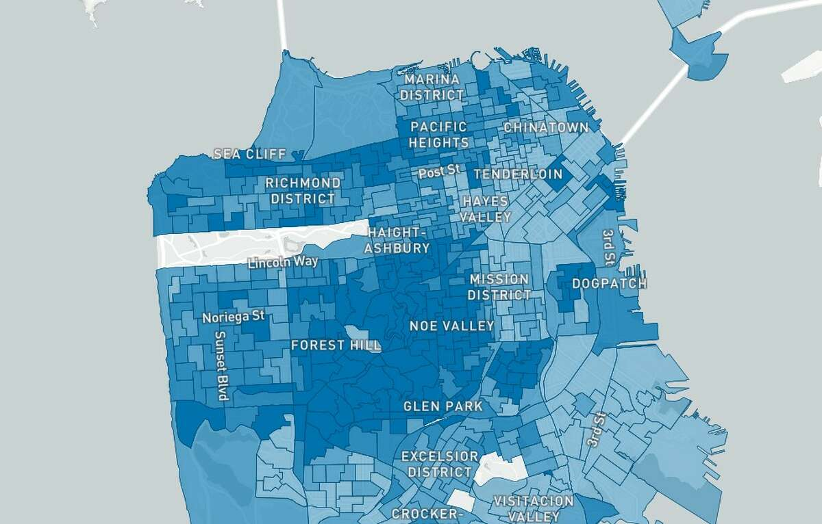 San Francisco voter turnout in the 2020 presidential election, from Election Map SF.
