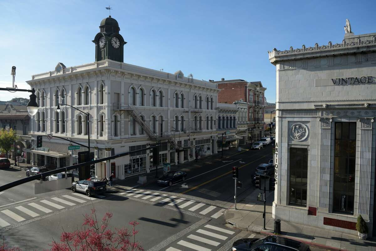Downtown street and bank buildings in Petaluma, a town in Sonoma County, Calif.