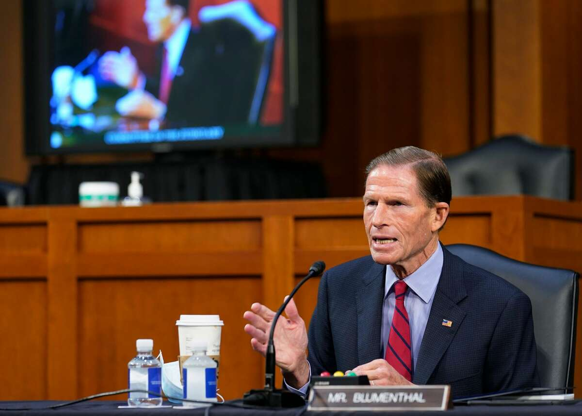 US Senator Richard Blumenthal speaks before the Senate Judiciary Committee on the fourth day of hearings on Supreme Court nominee Amy Coney Barrett, on October 15, 2020, on Capitol Hill in Washington, DC. (Photo by Susan Walsh / POOL / AFP) (Photo by SUSAN WALSH/POOL/AFP via Getty Images)