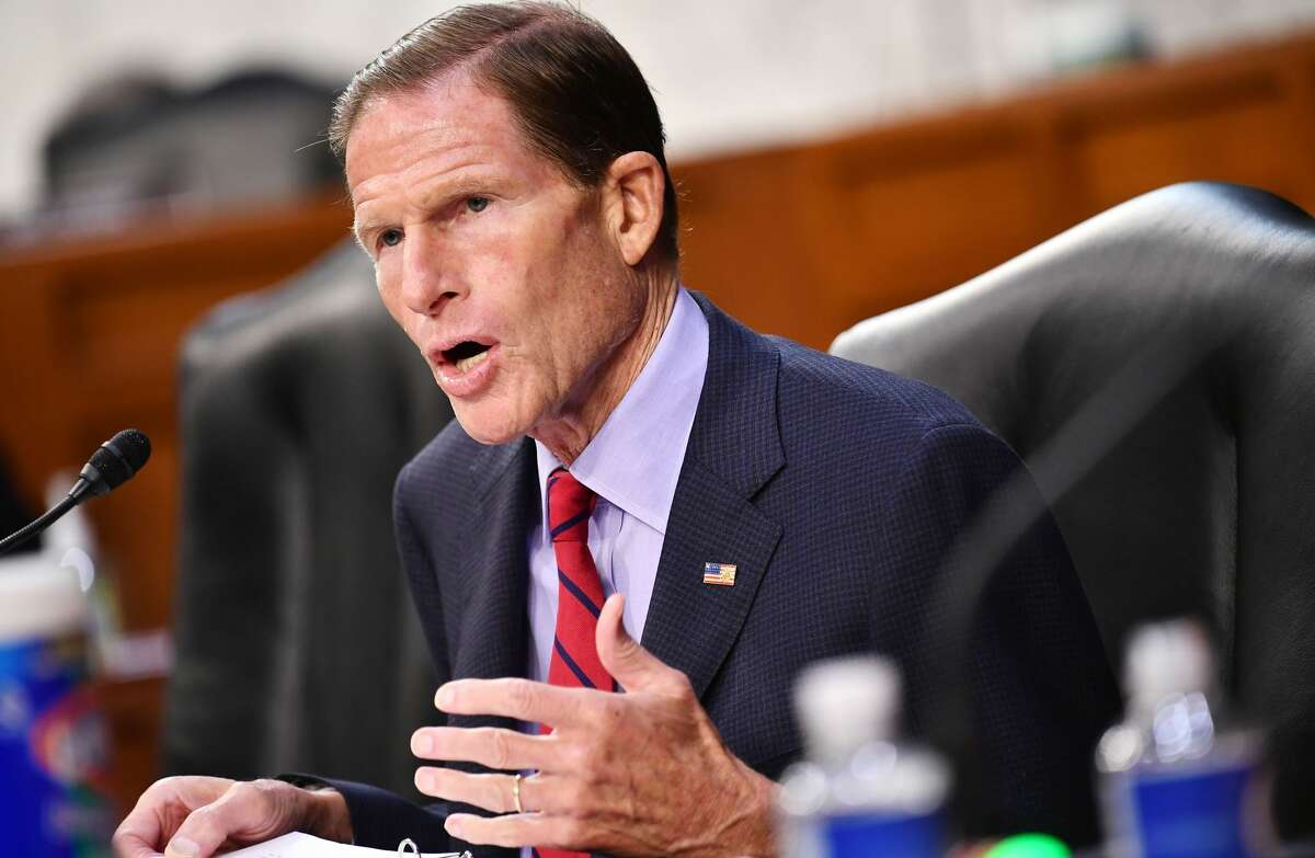 Senator Richard Blumenthal, D-CT, speaks during the fourth day of US Senate Judiciary Committee confirmation hearings for Supreme Court nominee Judge Amy Coney Barrett on Capitol Hill in Washington, DC, October 15, 2020. (Photo by MANDEL NGAN / POOL / AFP) (Photo by MANDEL NGAN/POOL/AFP via Getty Images)