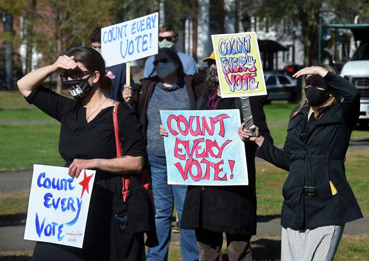 Protesters rally on the New Haven Green on November 4, 2020 to advocate for all of the votes cast in the national election to be counted.