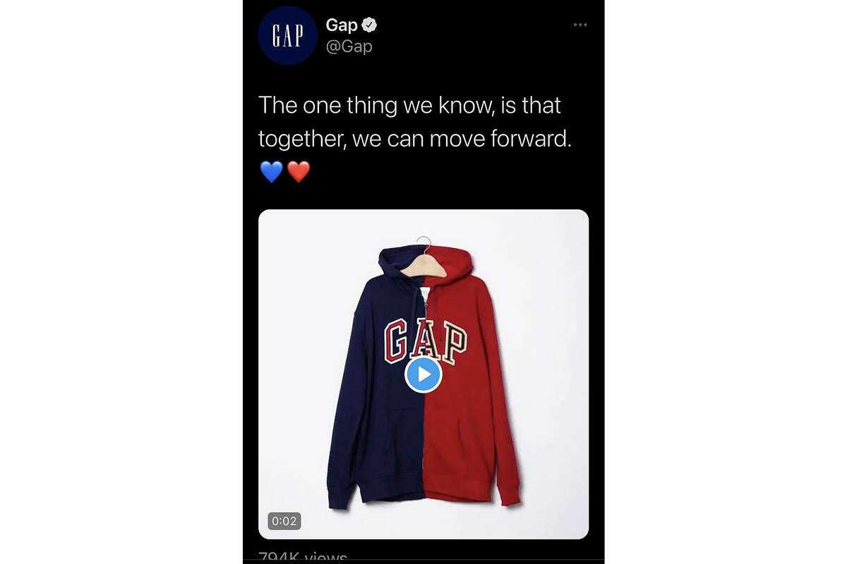A screenshot of a tweet posted, then deleted, by the Gap store chain on Nov. 4, 2020, drew sharp online criticism for piggybacking off the unsettled U.S. presidential eleciton.