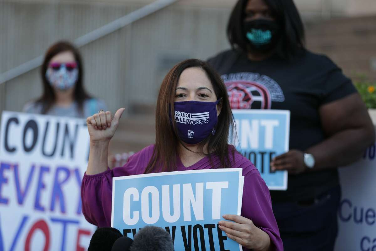 Can the president stop ballots from being counted? Elsa Caballero, SEIU Texas spokesperson, joined voters, non-voters, and protectors of democracy, to make public statements in response to on-going election procedures at a press conference in front of the Harris County Clerk's Office Wednesday, Nov. 4, 2020, in Houston.