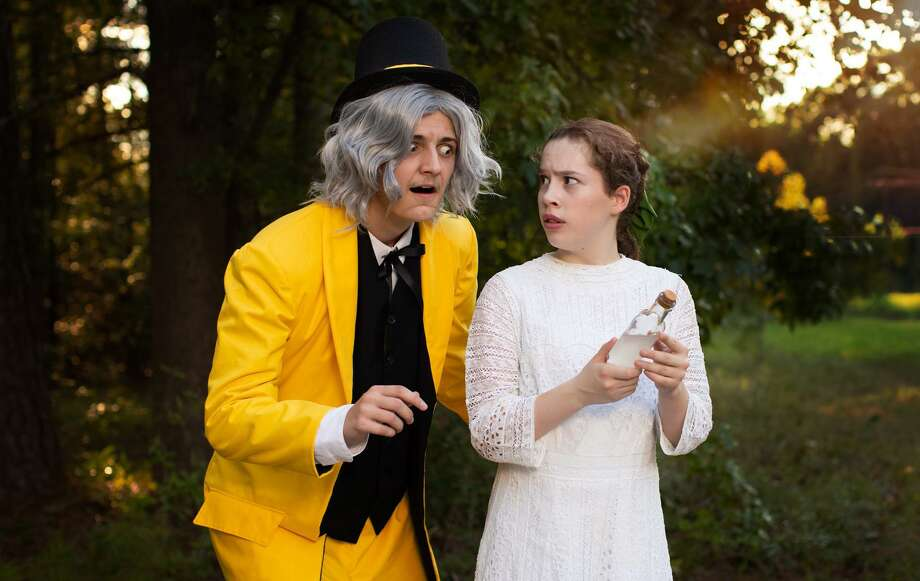 """Joshua Yeates, left, is """"The Man in the Yellow Suit"""" and Ellie Yarborough plays Winnie Foster in CYT's """"Tuck Everlasting"""" this weekend at the Crighton Theatre. Photo: Photo Courtesy Christian Youth Theatre"""