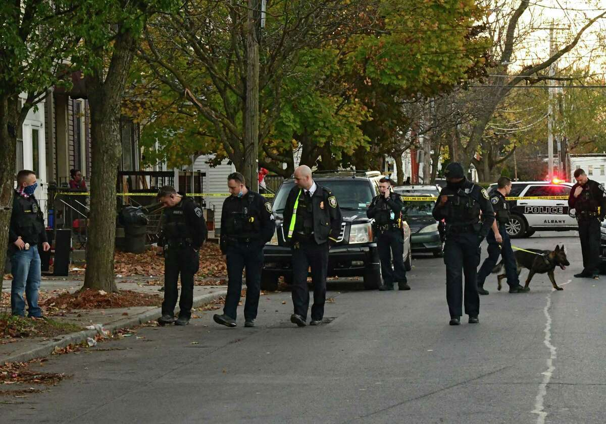 Police close off a stretch of Livingston Ave. just west of Ontario St. to investigate a possible shooting on Wednesday, Nov. 4, 2020 in Albany, N.Y. (Lori Van Buren/Times Union)