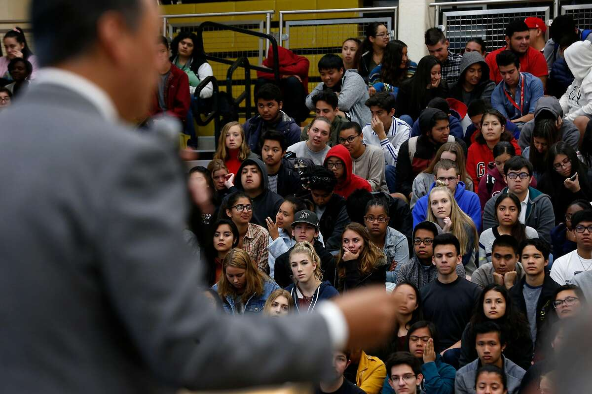 Students at American Canyon High School listen to California Secretary of State Alex Padilla encourages them to register to vote at an assembly in American Canyon, Calif. on Thursday, April 26, 2018.