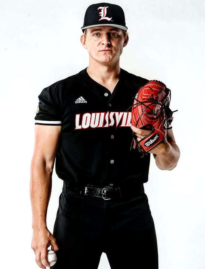 Marquette Catholic High grad Anthony Silkwood is preparing for the upcoming baseball season as a junior at the University of Louisville. Silkwood, who spent five years on active duty with the US Marine Corps, is 27. Photo: Louisville Athletics