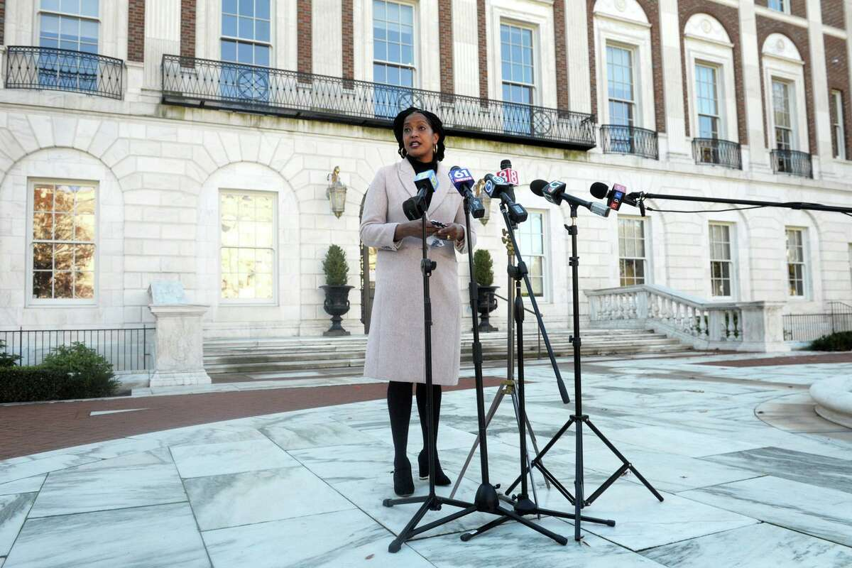 U.S. Rep. Jahana Hayes speaks at a news conference in front of City Hall in Waterbury, Conn. Nov. 4, 2020.