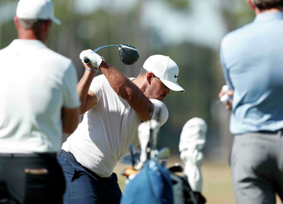 Brooks Koepka drives the ball on the range during the Pro-Am at the Vivint Houston Open at Memorial Park Golf Course on Wednesday.