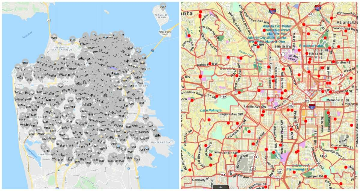 A comparative map of San Francisco, left, and Atlanta, right, shows the dramatic difference in available polling stations over a similar-sized area.