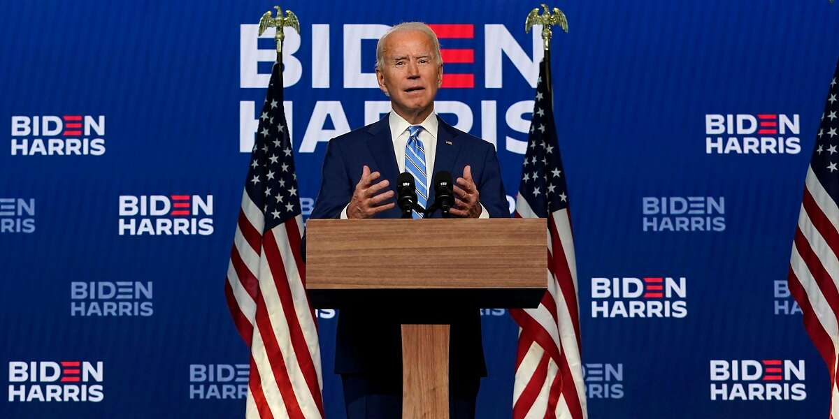 Democratic presidential candidate former Vice President Joe Biden speaks Wednesday, Nov. 4, 2020, in Wilmington, Del. (AP Photo/Carolyn Kaster)