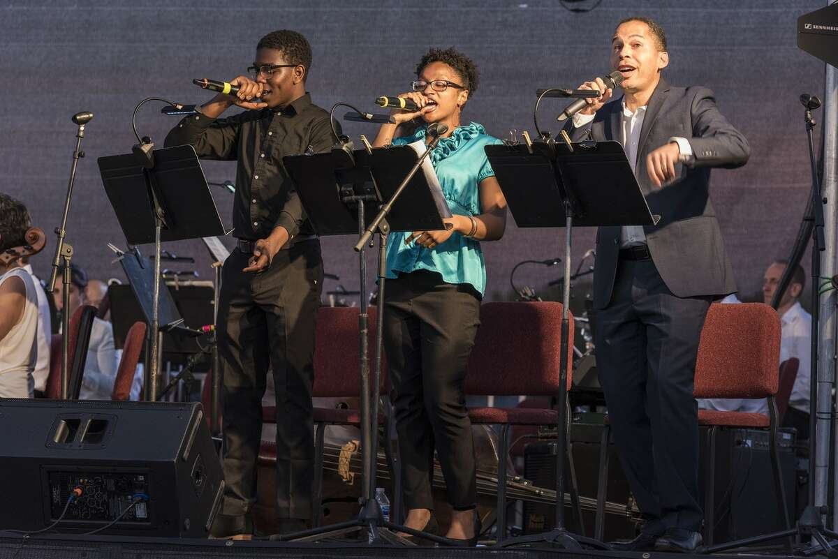 Mohamad Kanneh, Briola Nugent, and Myers performing at EMPAC (Provided)