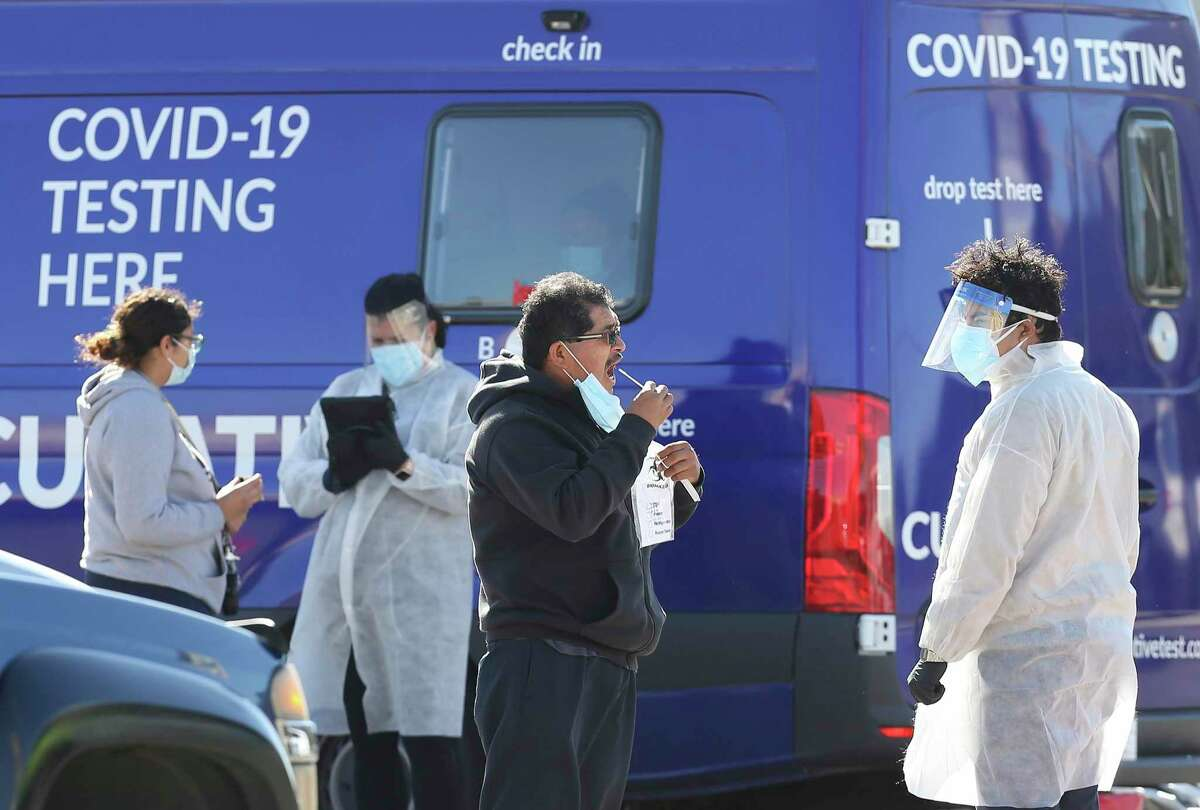 A mobile COVID-19 testing site tests individuals at South Park Plaza on Thursday, Oct. 29, 2020. The City of San Antonio has offered various locations for people to get tested as recent data shows an uptick in positive cases.