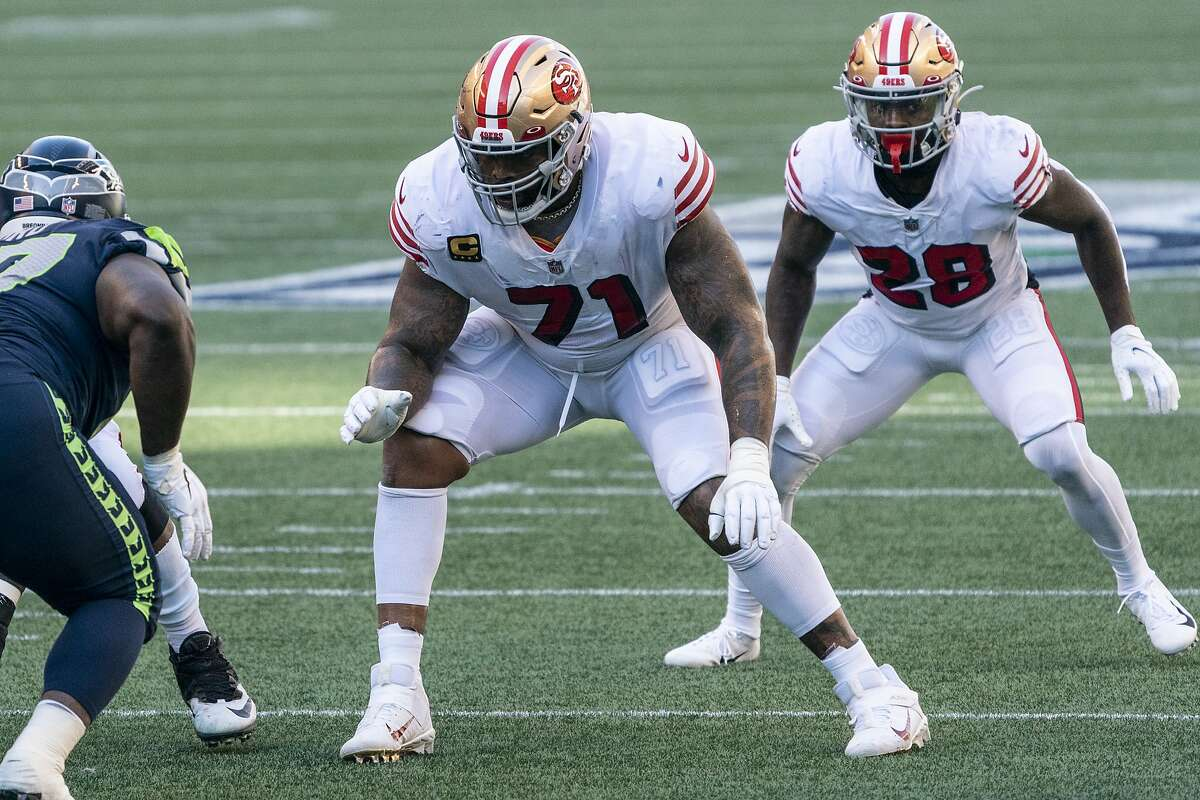 San Francisco 49ers offensive lineman Trent Williams is pictured during the first half of an NFL football game against the Seattle Seahawks, Sunday, Nov. 1, 2020, in Seattle. The Seahawks won 37-27. (AP Photo/Stephen Brashear)