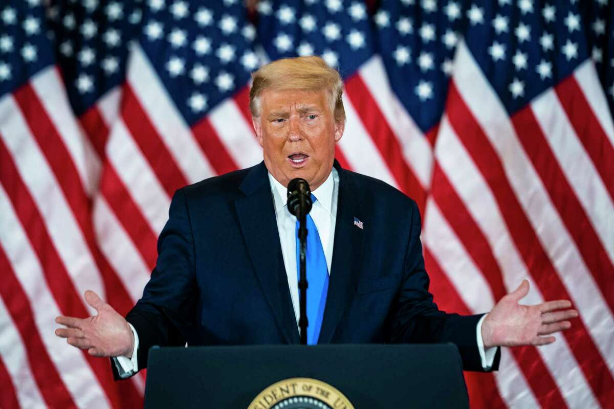 President Donald Trump speaks during an election night event at the White House early Wednesday, Nov. 4, 2020.