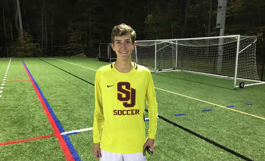 St. Joseph keeper Cameron Reichenbach was Man of the Match when the Cadets defeated Trumbull in the FCIAC East playoffs. Photo: Bill Bloxsom / Hearst Connecticut Media / Trumbull Times