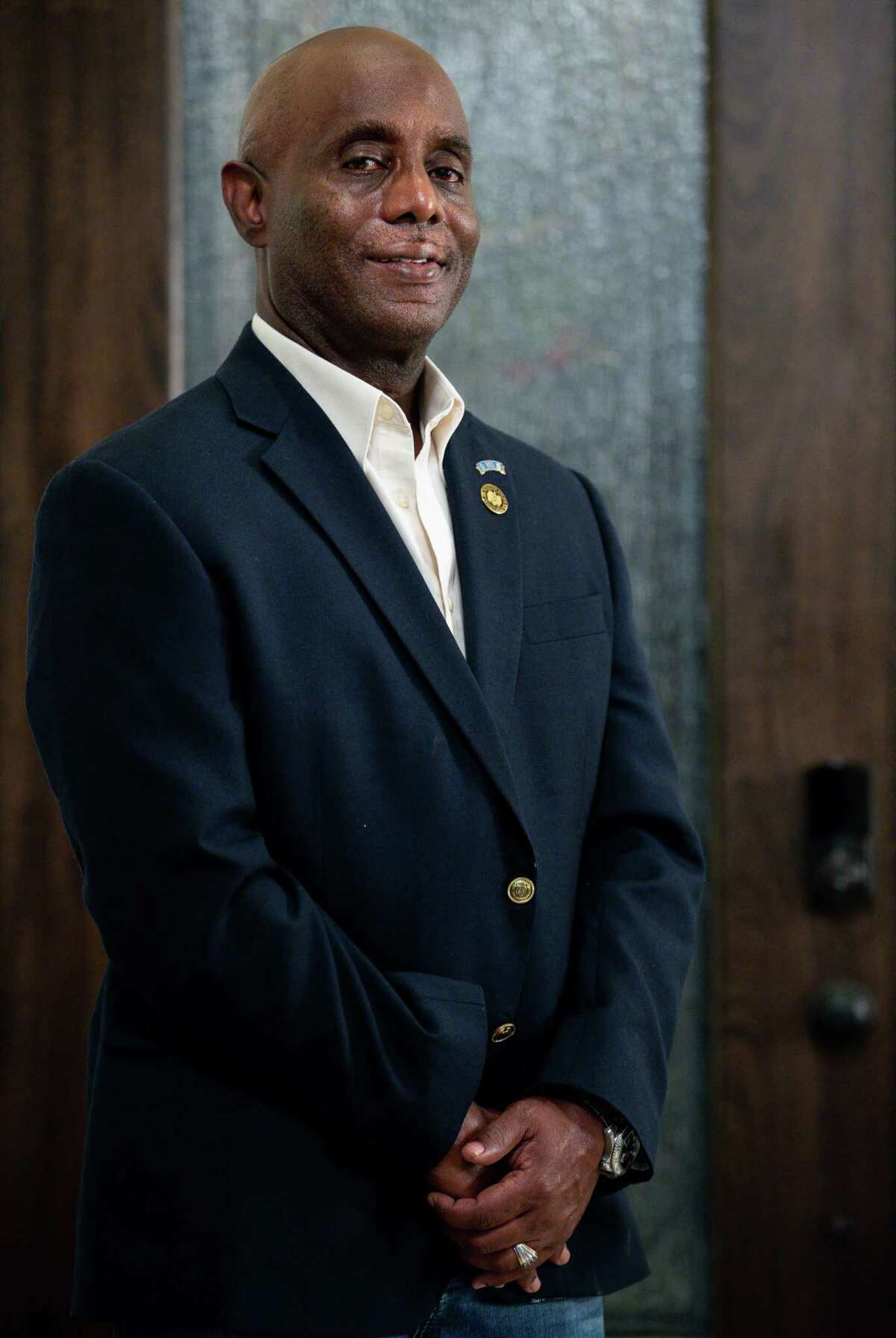 Eric Fagan, who was elected as the first Black sheriff in Fort Bend County since Reconstruction, poses for a photograph inside his home Wednesday, Nov. 4, 2020, in Pearland, Texas.