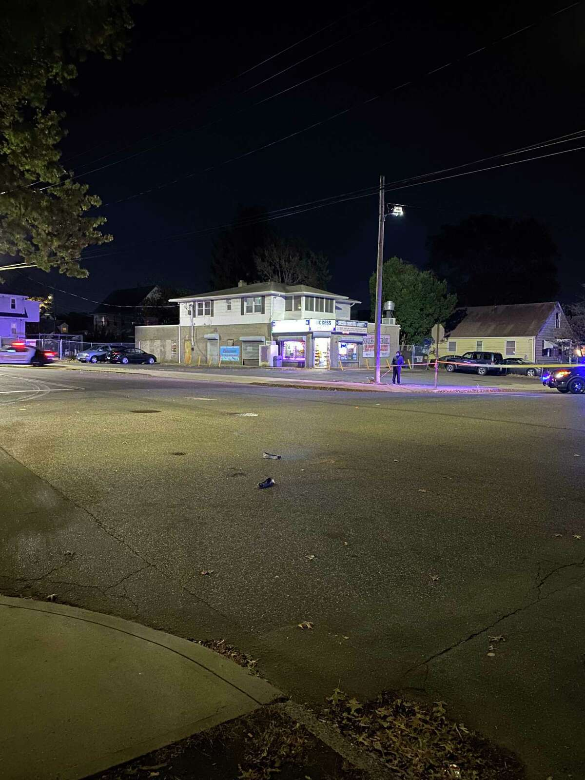 The intersection of Granfield and Success avenues in Bridgeport, Conn., after the driver of a pickup truck allegedly hit a pedestrian as she was crossing the road on Wednesday, Nov. 4, 2020.