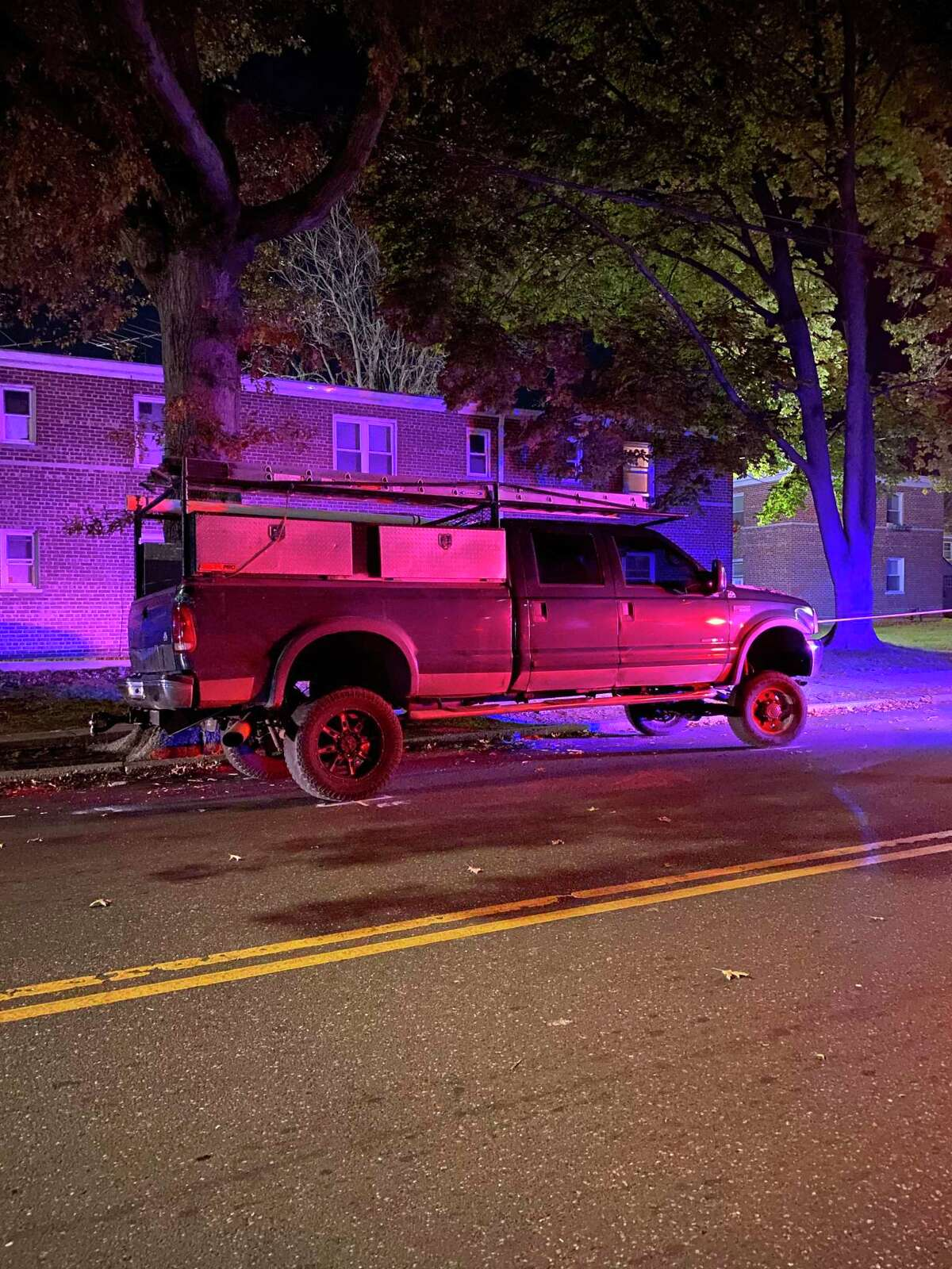 The pickup truck involved in a serious collision involving a pedestrian in Bridgeport, Conn., on Wednesday, Nov. 4, 2020.